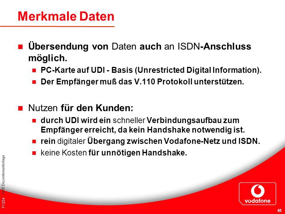 Merkmale Daten Übersendung von Daten auch an ISDN-Anschluss möglich.