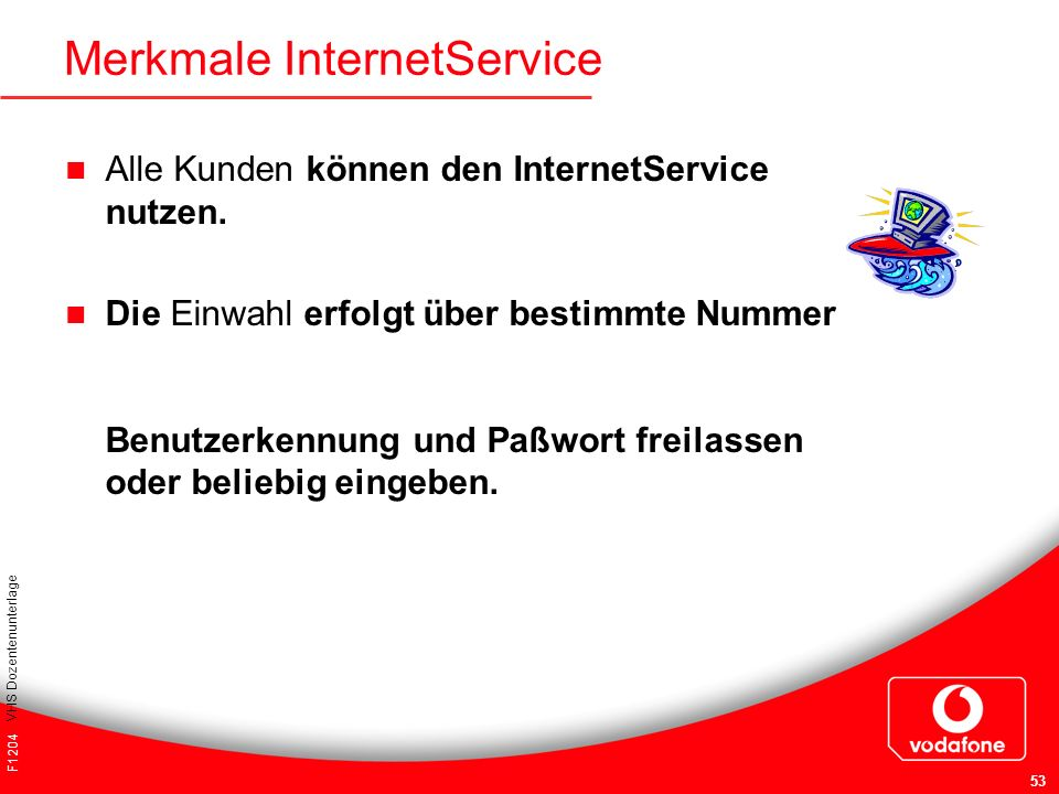 Merkmale InternetService