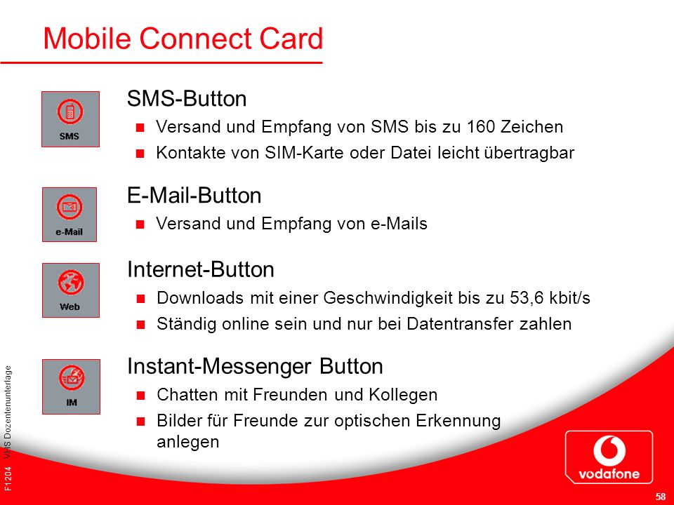Mobile Connect Card SMS-Button  -Button Internet-Button