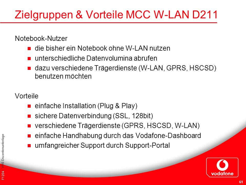 Zielgruppen & Vorteile MCC W-LAN D211