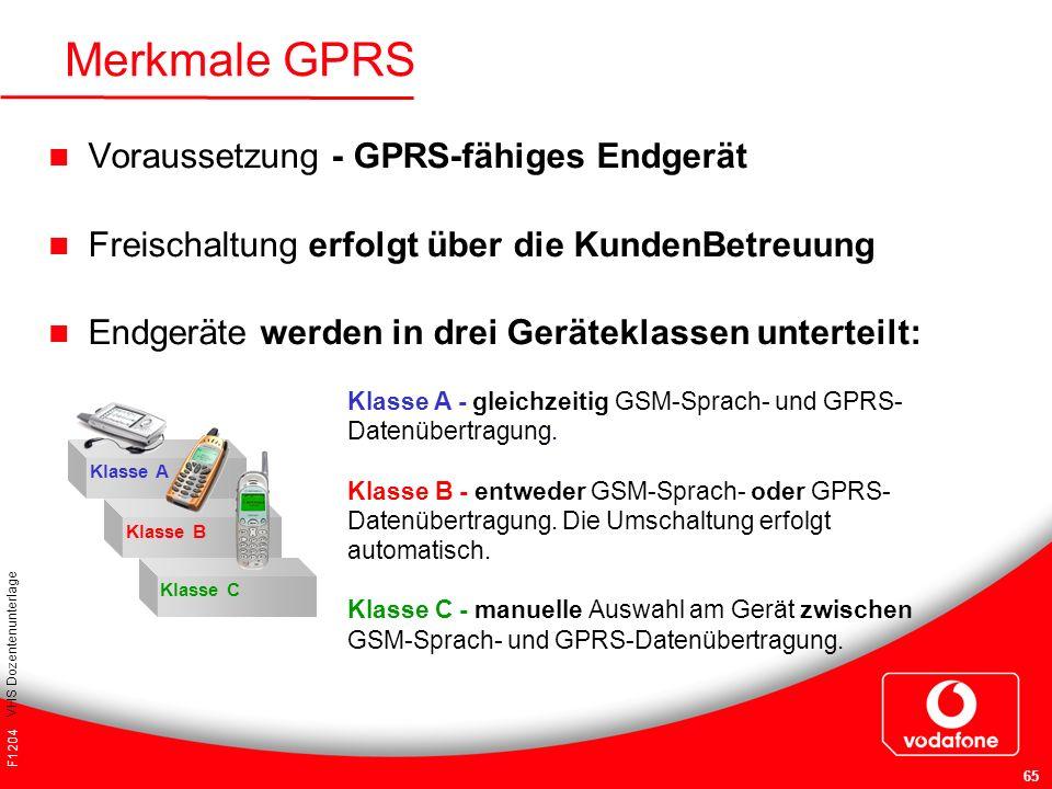 Merkmale GPRS Voraussetzung - GPRS-fähiges Endgerät