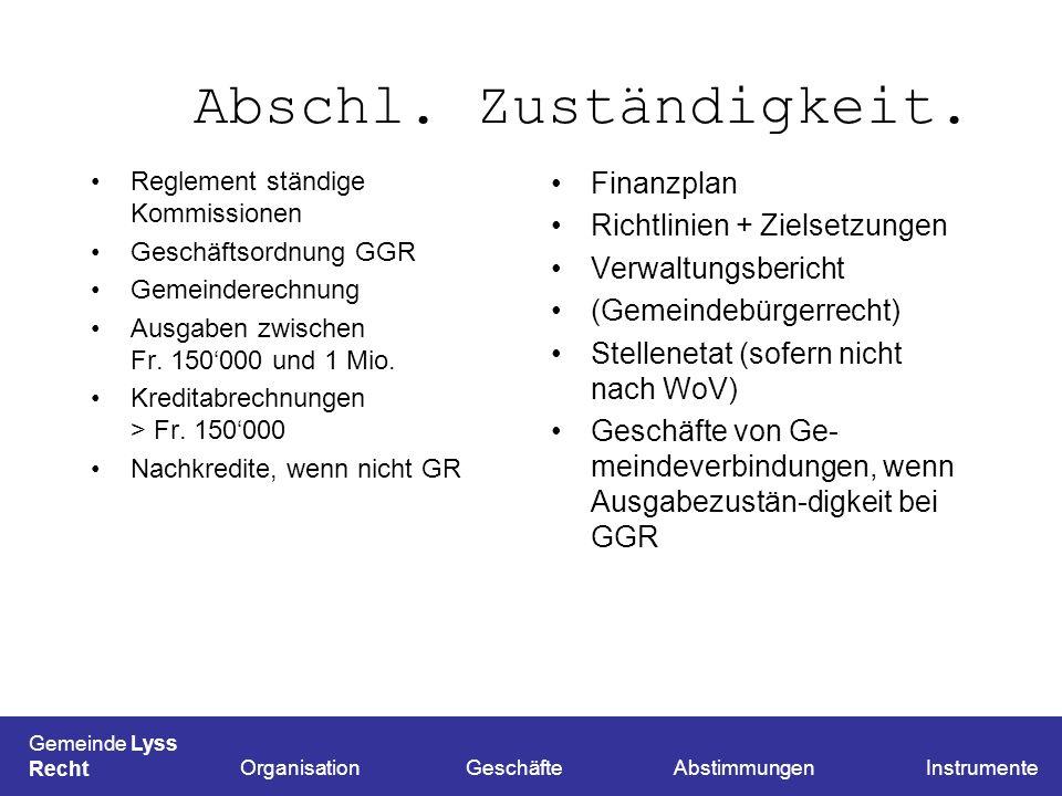 Abschl. Zuständigkeit. Finanzplan Richtlinien + Zielsetzungen