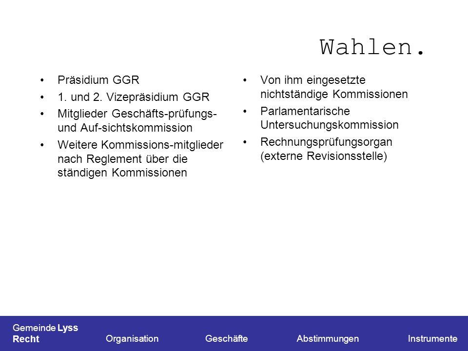 Wahlen. Präsidium GGR 1. und 2. Vizepräsidium GGR