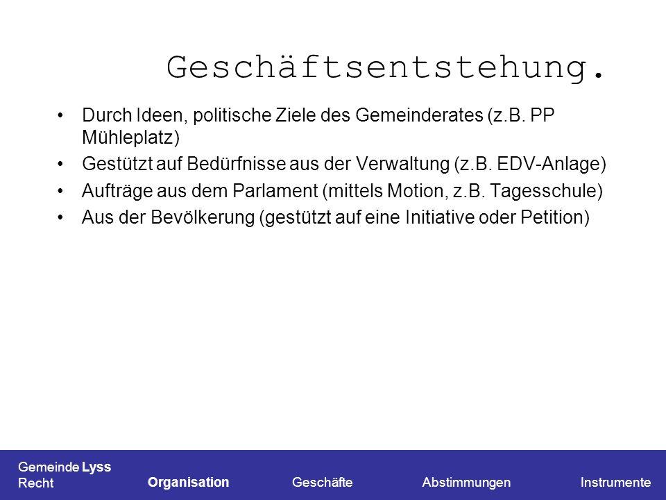 Geschäftsentstehung.Durch Ideen, politische Ziele des Gemeinderates (z.B. PP Mühleplatz)