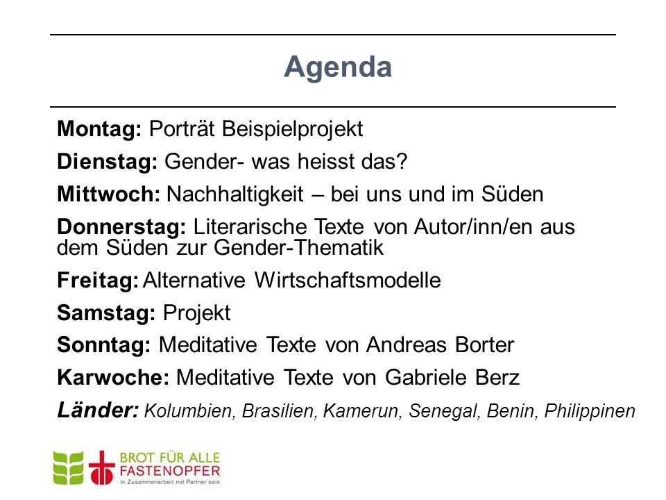 Agenda Montag: Porträt Beispielprojekt