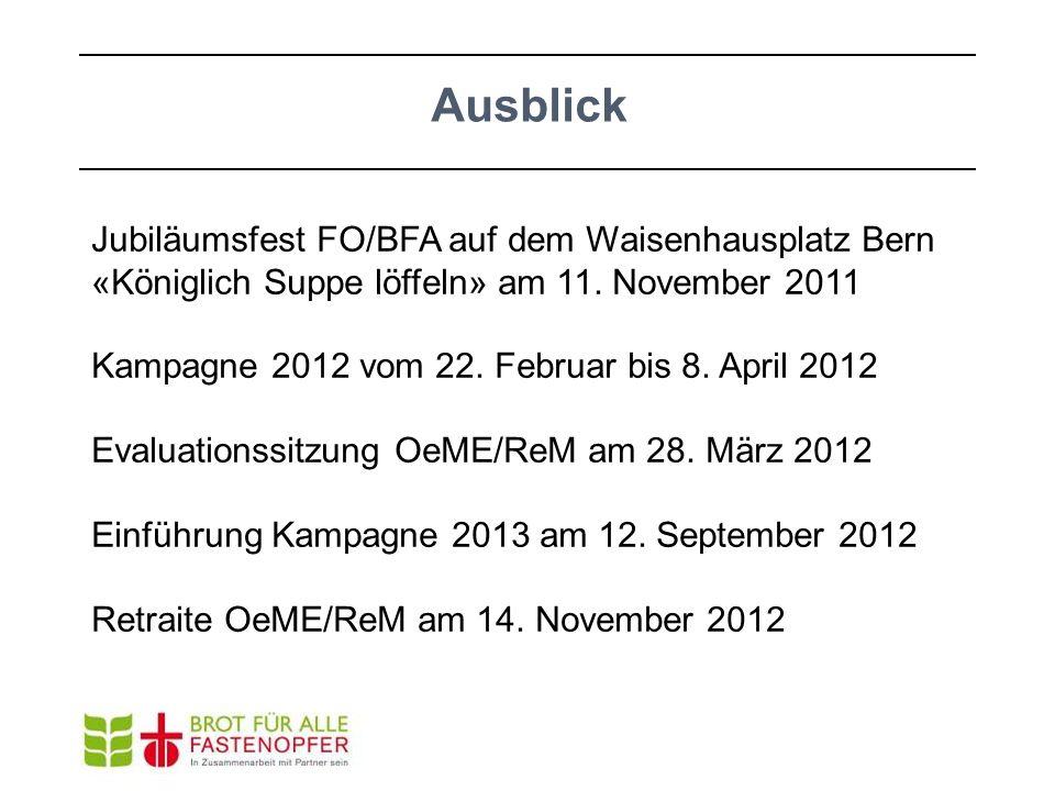 Ausblick Jubiläumsfest FO/BFA auf dem Waisenhausplatz Bern «Königlich Suppe löffeln» am 11. November 2011.
