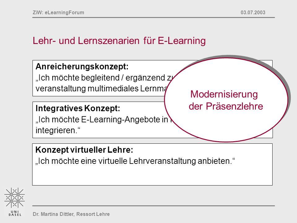 Lehr- und Lernszenarien für E-Learning