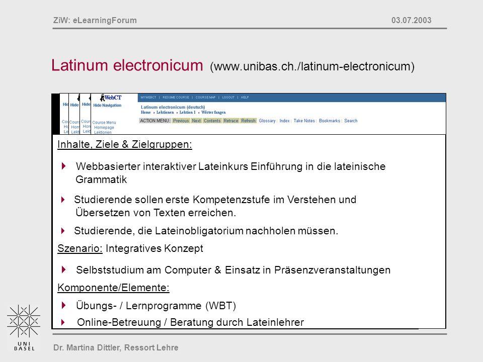 Latinum electronicum (www.unibas.ch./latinum-electronicum)