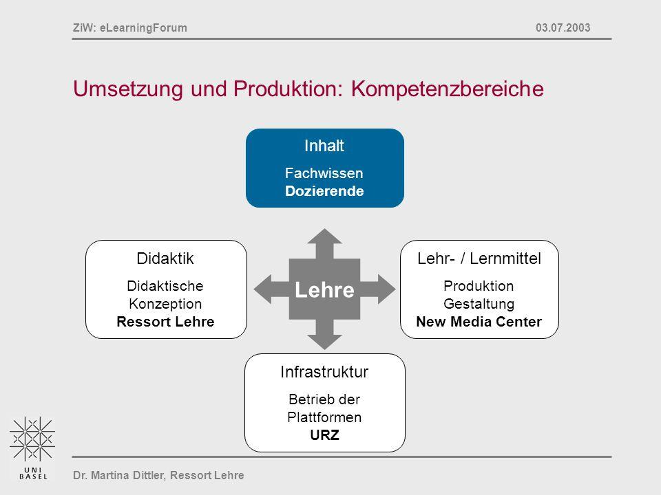 Umsetzung und Produktion: Kompetenzbereiche