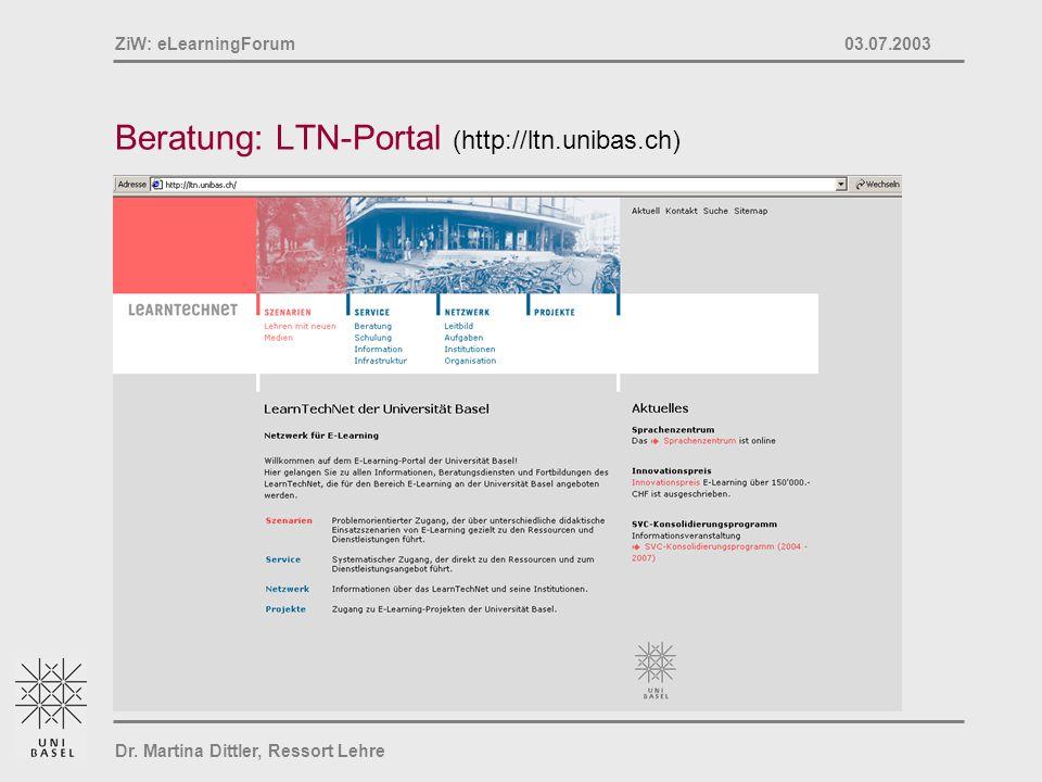 Beratung: LTN-Portal (http://ltn.unibas.ch)