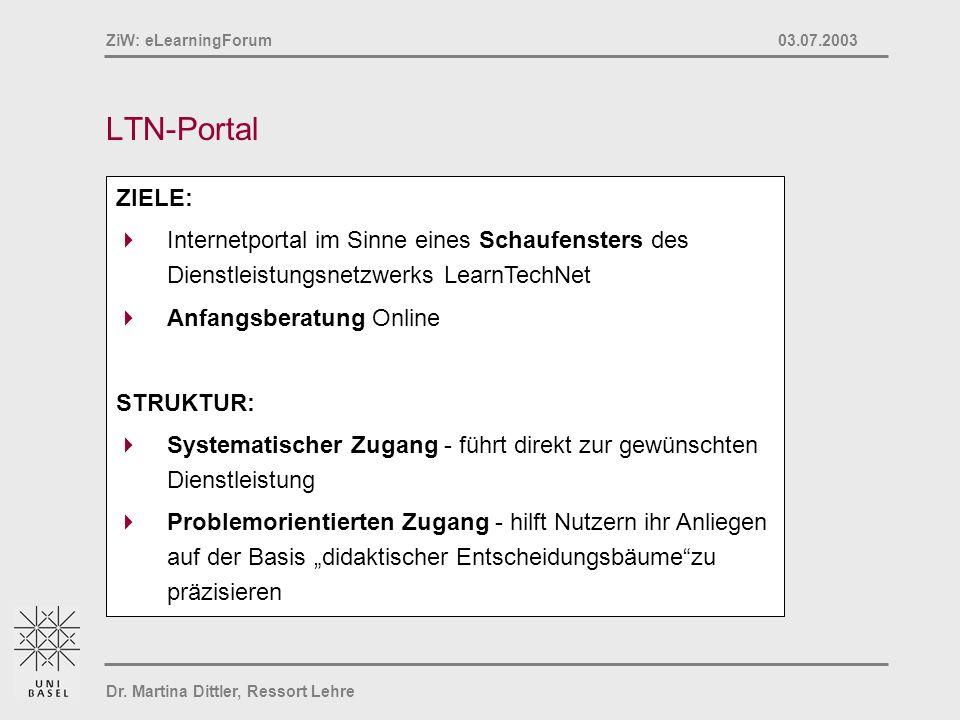 LTN-Portal ZIELE: Internetportal im Sinne eines Schaufensters des Dienstleistungsnetzwerks LearnTechNet.
