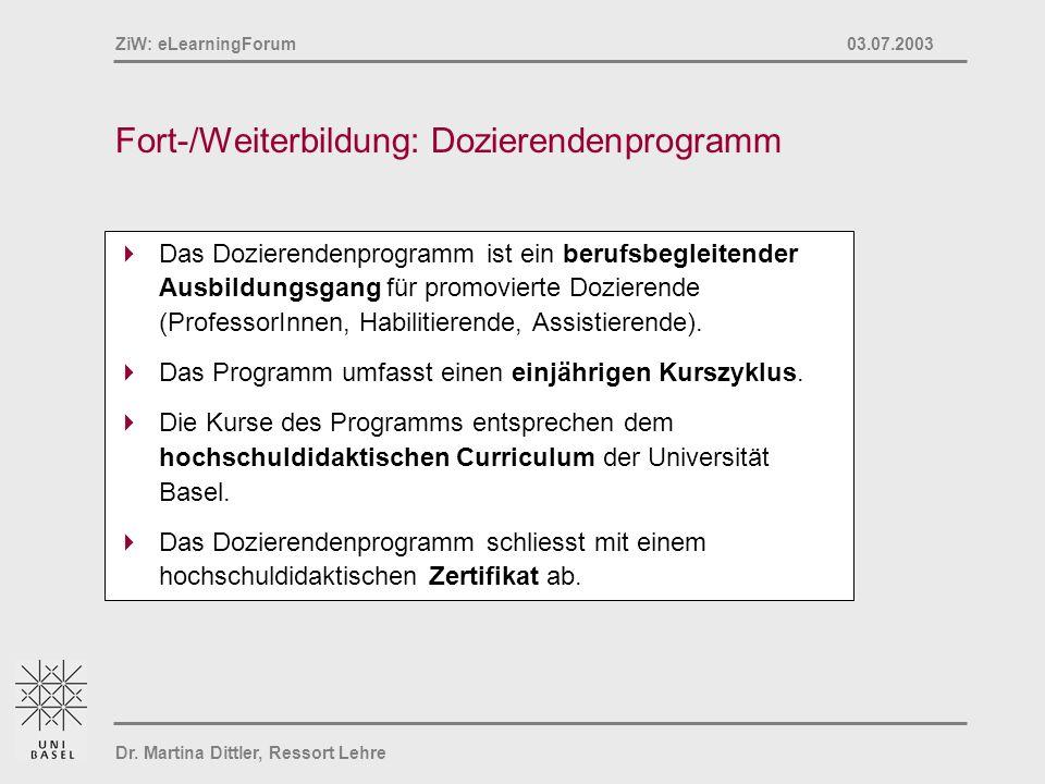 Fort-/Weiterbildung: Dozierendenprogramm