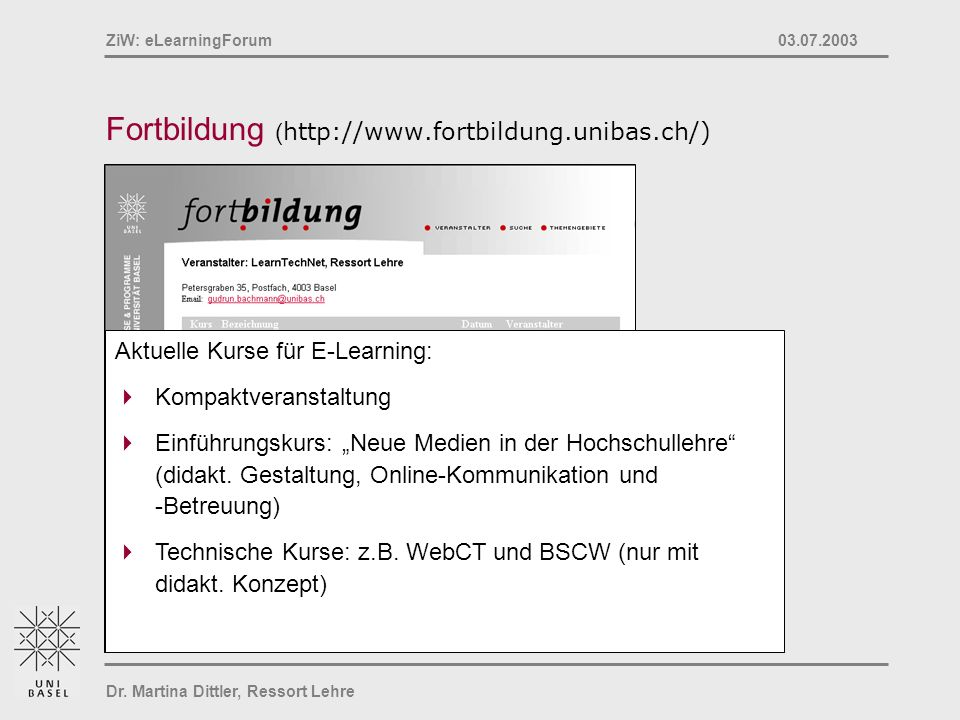 Fortbildung (http://www.fortbildung.unibas.ch/)