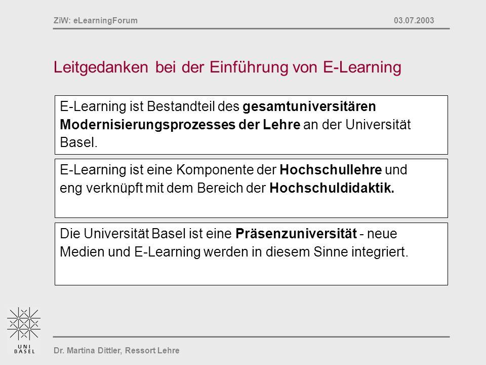 Leitgedanken bei der Einführung von E-Learning