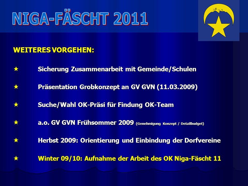 NIGA-FÄSCHT 2011 WEITERES VORGEHEN: