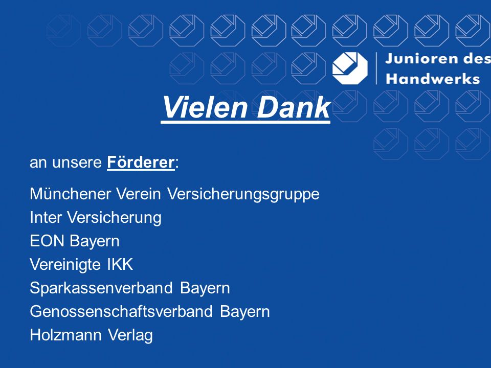 Vielen Dank an unsere Förderer: Münchener Verein Versicherungsgruppe