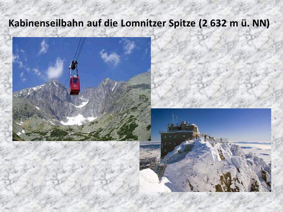 Kabinenseilbahn auf die Lomnitzer Spitze (2 632 m ü. NN)