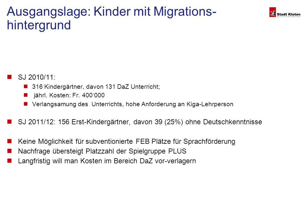 Ausgangslage: Kinder mit Migrations- hintergrund