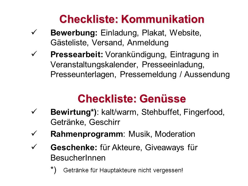 Checkliste: Kommunikation