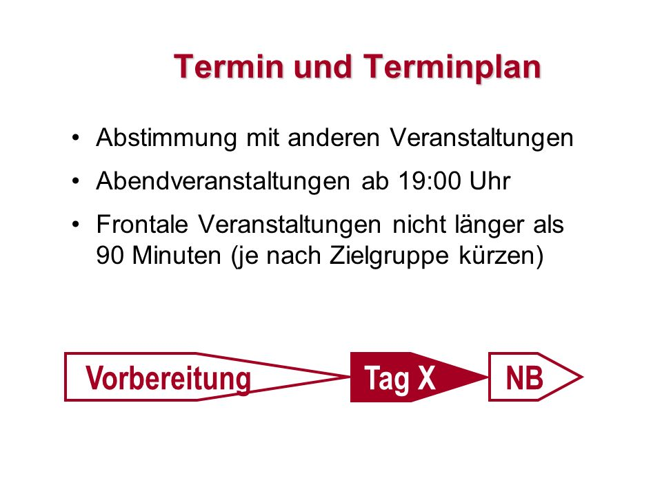 Termin und Terminplan Vorbereitung Tag X NB