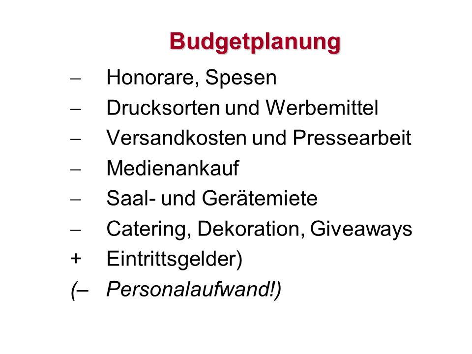 Budgetplanung Honorare, Spesen Drucksorten und Werbemittel