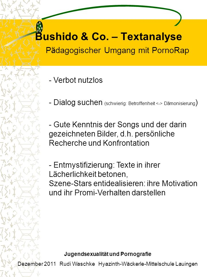 Bushido & Co. – Textanalyse Pädagogischer Umgang mit PornoRap