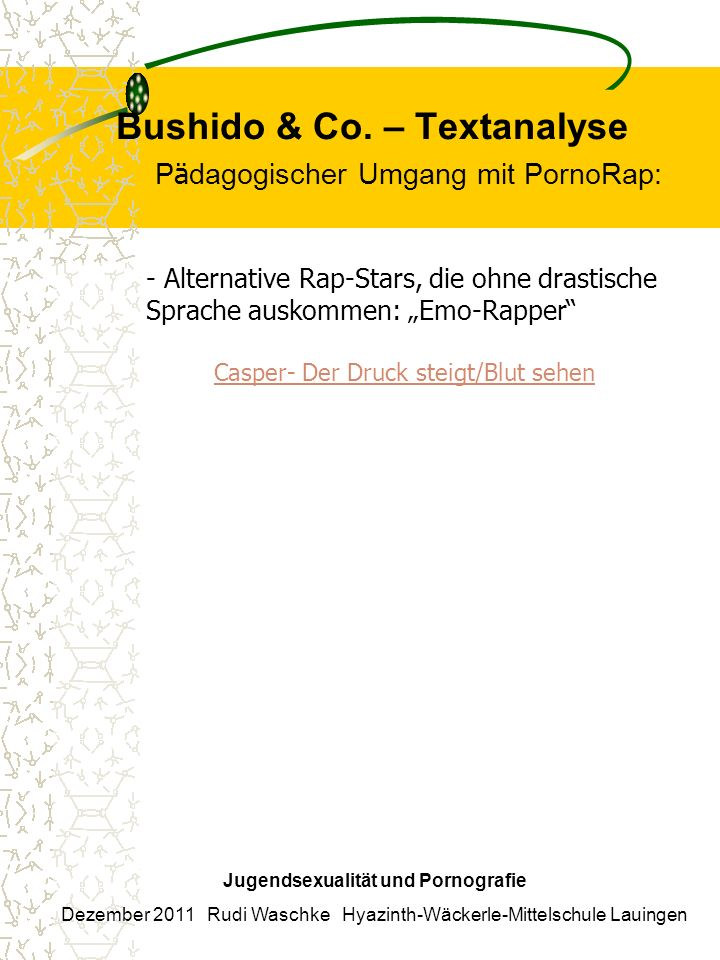 Bushido & Co. – Textanalyse Pädagogischer Umgang mit PornoRap: