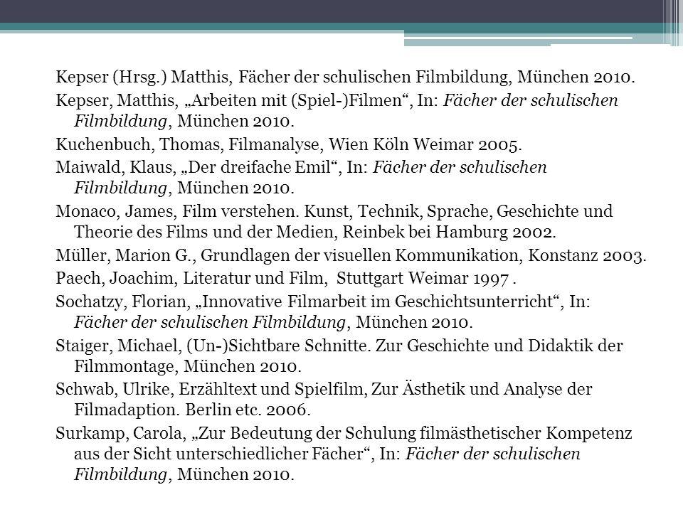 Kepser (Hrsg.) Matthis, Fächer der schulischen Filmbildung, München 2010.