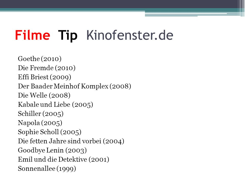 Filme Tip Kinofenster.de