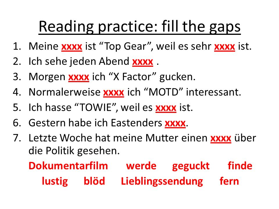 Reading practice: fill the gaps