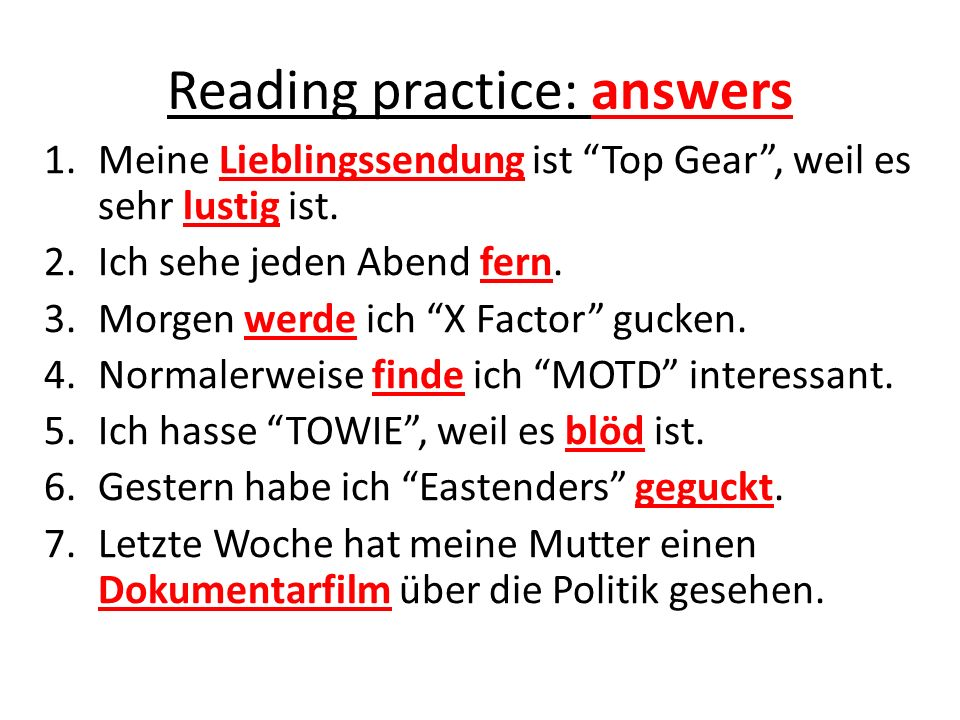 Reading practice: answers