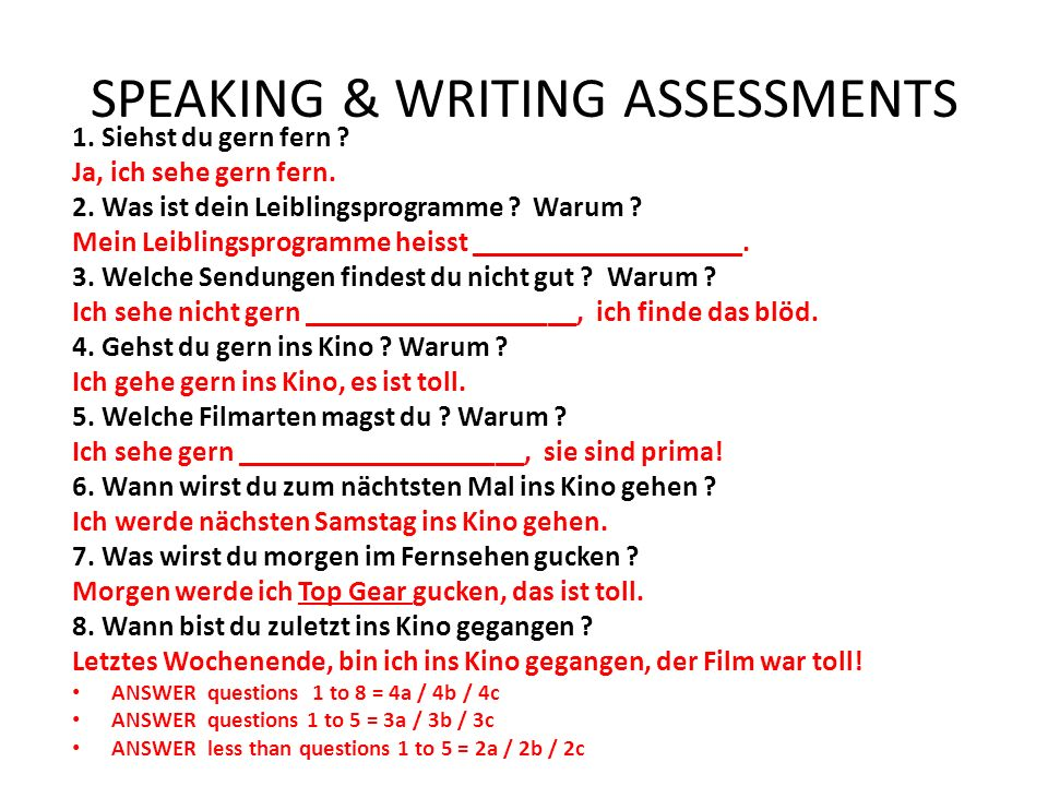 SPEAKING & WRITING ASSESSMENTS