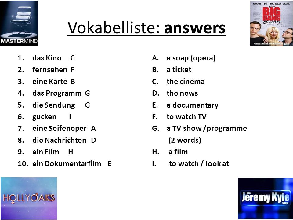Vokabelliste: answers