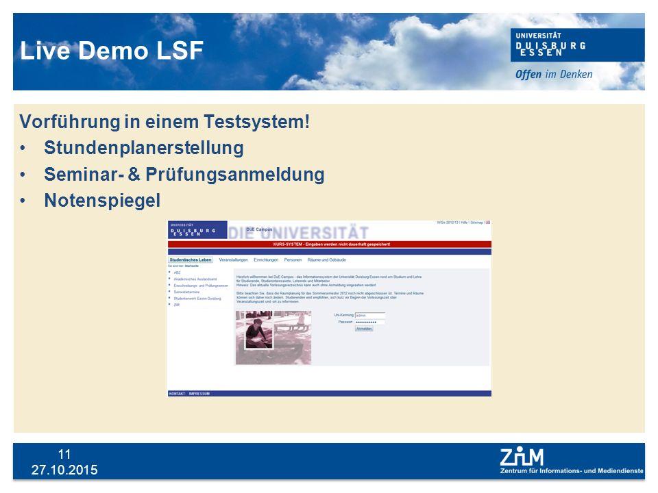 Live Demo LSF Vorführung in einem Testsystem! Stundenplanerstellung