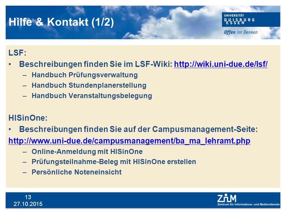 Hilfe & Kontakt (1/2) LSF: