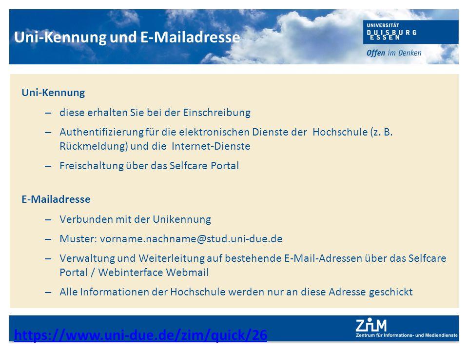Uni-Kennung und E-Mailadresse