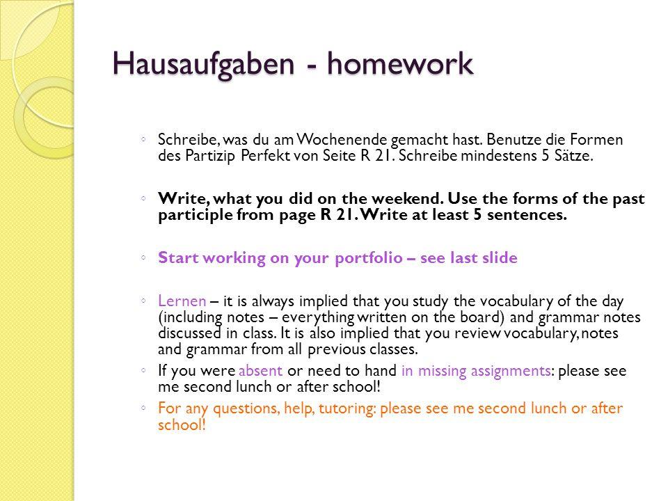 Hausaufgaben - homework