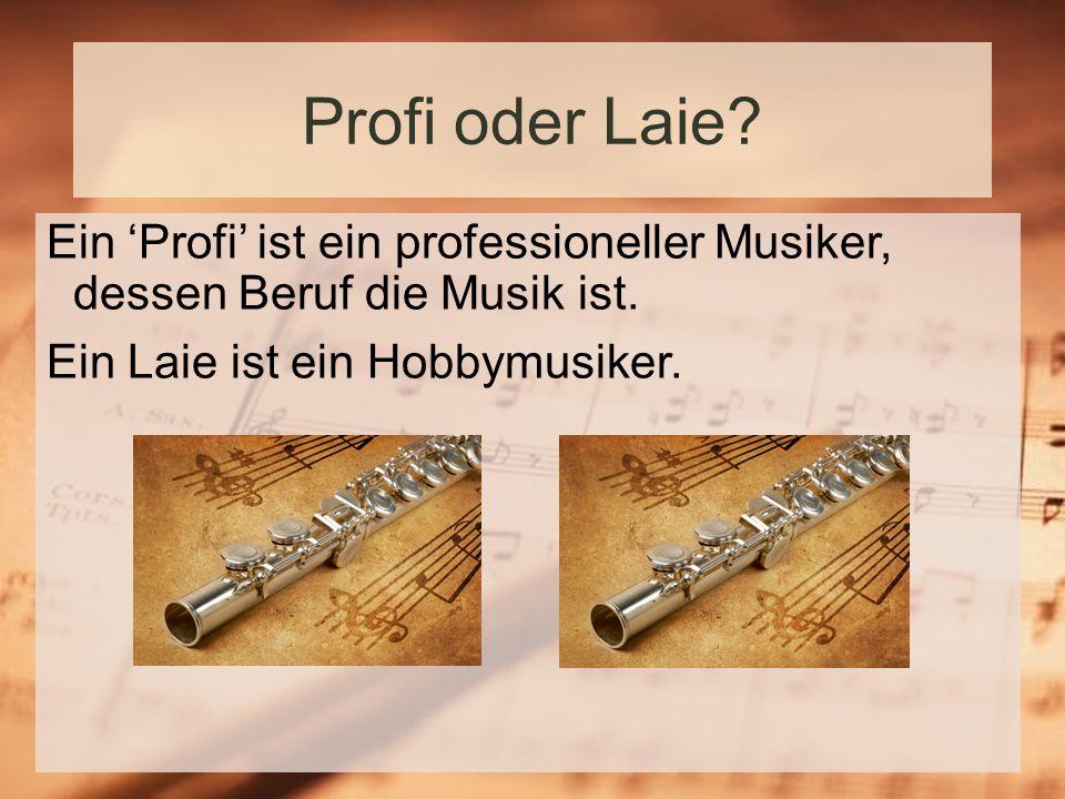 Profi oder Laie. Ein 'Profi' ist ein professioneller Musiker, dessen Beruf die Musik ist.