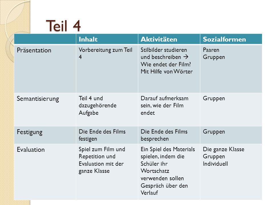 Teil 4 Inhalt Aktivitäten Sozialformen Präsentation Semantisierung