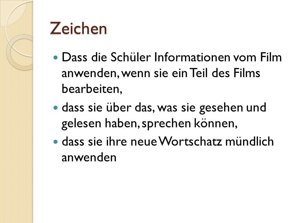 Zeichen Dass die Schüler Informationen vom Film anwenden, wenn sie ein Teil des Films bearbeiten,