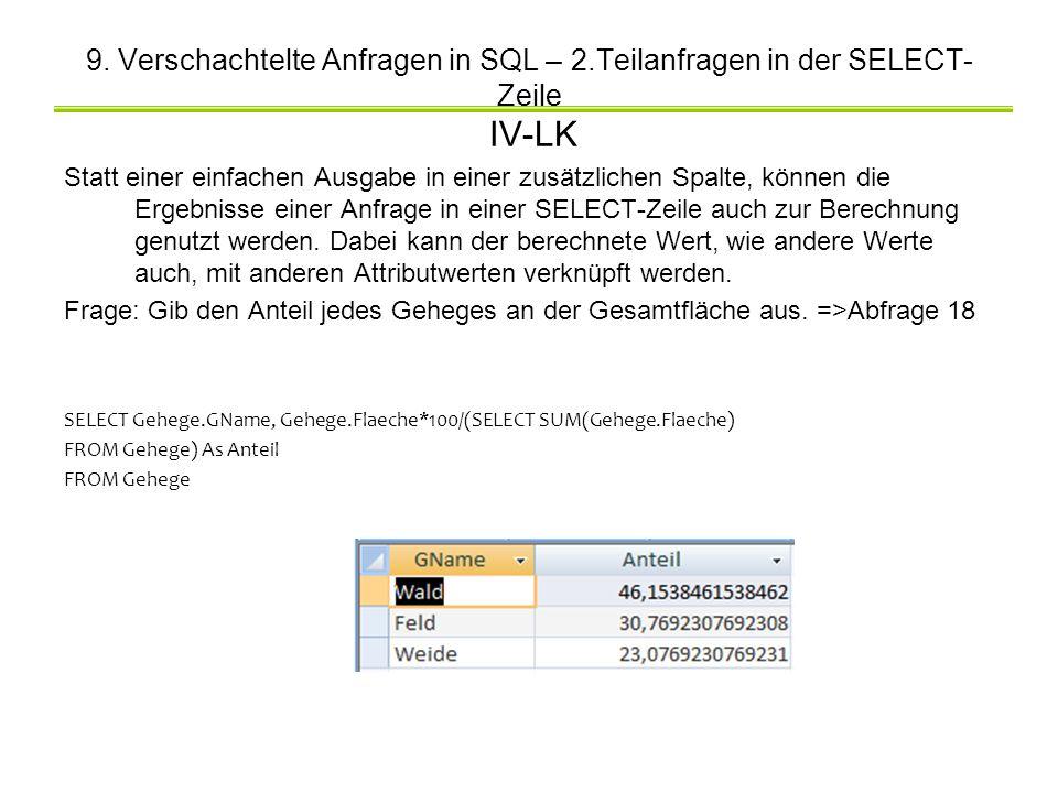 9. Verschachtelte Anfragen in SQL – 2