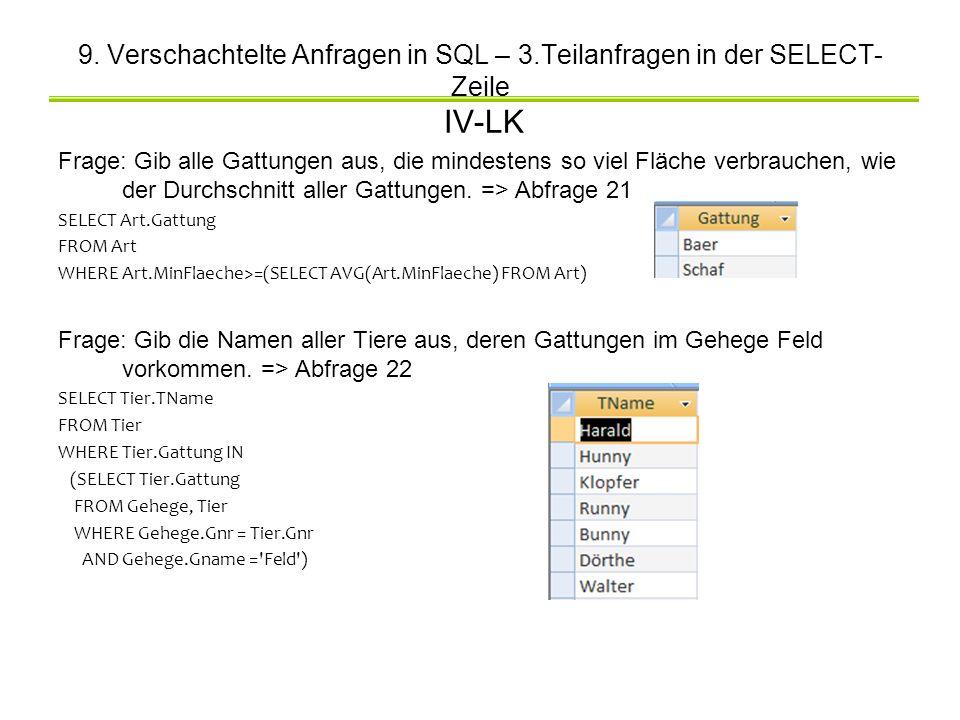 9. Verschachtelte Anfragen in SQL – 3