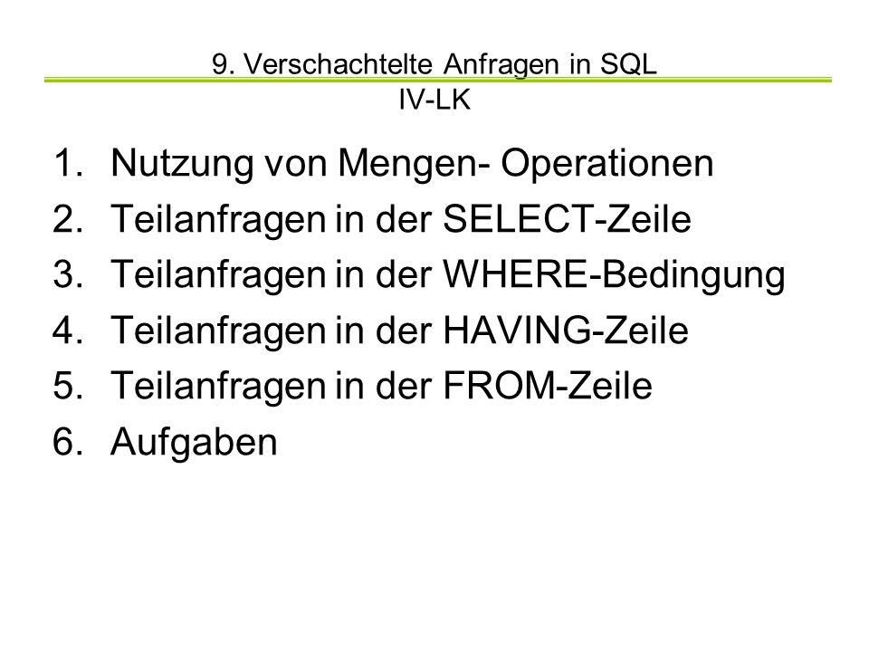 9. Verschachtelte Anfragen in SQL IV-LK