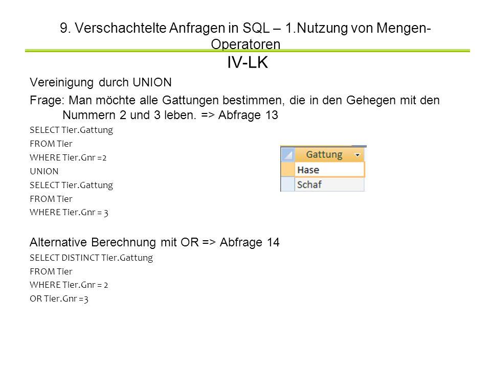 9. Verschachtelte Anfragen in SQL – 1