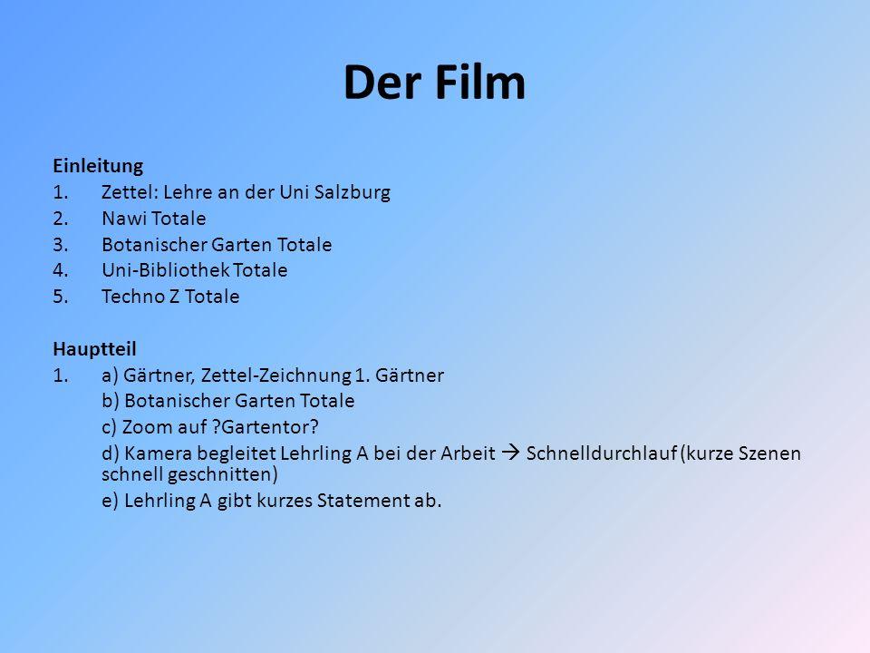 Der Film Einleitung Zettel: Lehre an der Uni Salzburg Nawi Totale