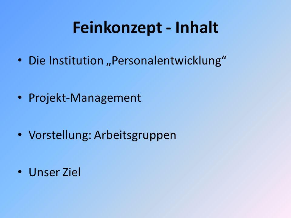 """Feinkonzept - Inhalt Die Institution """"Personalentwicklung"""