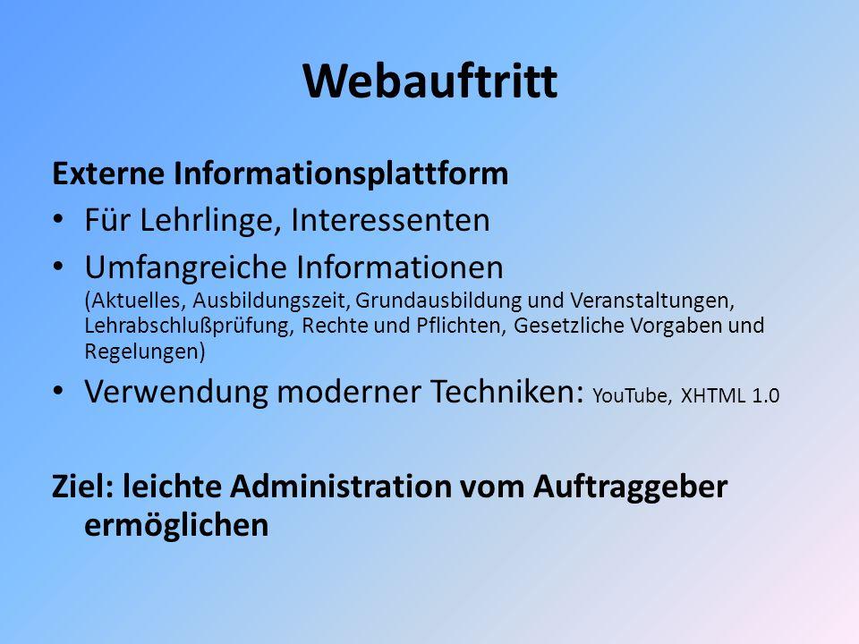 Webauftritt Externe Informationsplattform Für Lehrlinge, Interessenten