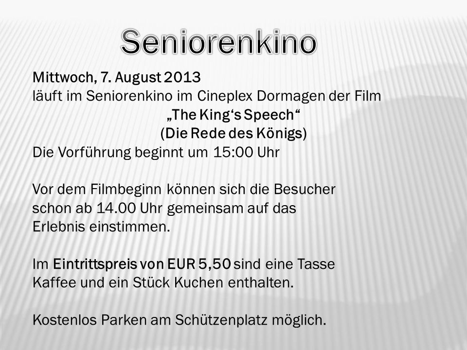 """The King's Speech (Die Rede des Königs)"