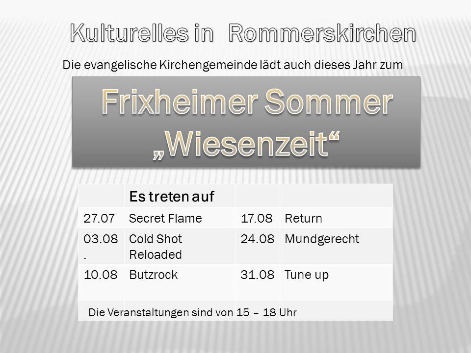 """Kulturelles in Rommerskirchen Frixheimer Sommer """"Wiesenzeit"""