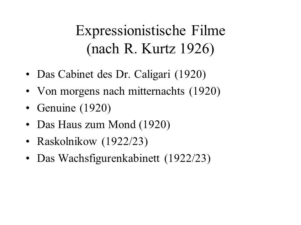 Expressionistische Filme (nach R. Kurtz 1926)